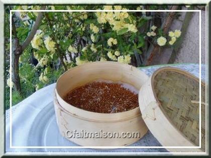 Graines germées dans un cuit-vapeur asiatique